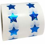 ブルー スパークル スター ステッカー, 13 mm 1/2 インチの光沢のあるホログラフィック ラベル 1000 のパック