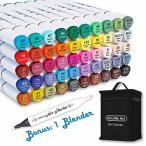 Shuttle Art イラストマーカー 50色 ブレンダーペン付き 2種類のペン先 油性 カラーペン アートマーカー 防水 速