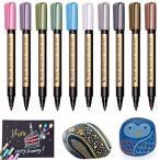 Jhua 全部10本 メタリックマーカーペン 多機能ペン DIYフォトアルバム/カードや年賀状/ガラス/木材/陶芸などの