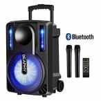 カラオケセット スピーカー 拡声器 充電式 ポータブルカラオケシステム (ワイヤレスマイク2本付き) Bluetooth&T