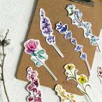 しおり 30枚セット ブックマーク 花 ブックマーカー 植物 フラワー 栞 押し花 一輪花 葉っぱ 朝顔 薔薇 チュー
