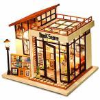 CuteBee DIY木製ドールハウス、BOOK STORE 、ミニチュアコレクション、LEDライト、オルゴール、プレゼント、電池AAA