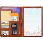 A4 ファイル クリップボード 二つ折り 12桁電卓付き シックブラウン