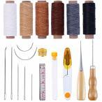 6色 蝋引き糸 レザークラフト 手縫い針 工具 セット ロウ引き 千枚通し シンブル はさみ 定規 手作り 裁縫 革