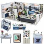 CuteBee DIY木製ドールハウス、Good Times、手作りキットセット、ミニチュアコレクション、LEDライト(電池AAA*2必要)