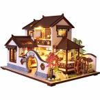 CuteBee DIY木製ドールハウス、Dream Town 、ミニチュアコレクション、LEDライト、オルゴール、プレゼント (P001-C)