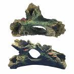 アクアリウム オブジェ 人工水草/流木 水槽 アクセサリー 隠れ家 金魚水景オーナメント(人工流木-セット-B)