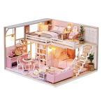 DIY木製ドールハウス手作りミニチュアキット-ガーリッシュドリームルームモデル&家具(割合:1:24のおもち