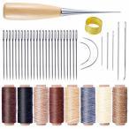 レザークラフト縫製キット 縫い道具セット レザーツール セット 50m 8色 蝋引き糸 縫い針 縫い糸用針 千枚通し