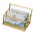 Sumnacon ガラス 名刺スタンド 名刺立て クリア おしゃれ 横置き 名刺 カード入れ スマホ スタンド ガラス 真鍮 (
