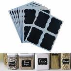 調味料ラベルブラック 防水 剥がしやすい 料理素材ラベル 36枚容器用 防水黒板シール