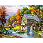 Tubame stall 風景画 34-D ダイアモンドビーズ絵画 刺繍キット 5D ダイアモンドカラーストーン 刺繍キット クロス