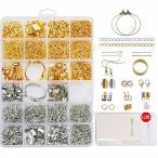 Sitengle アクセサリーパーツ ピアスパーツ 15種類 2色 約1733個 12枚ピアス台紙とOPP袋付き 金具パーツセット イヤ