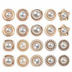 TIMESETL 20個 ボタン 17~20mm ゴールド 飾りボタン 人工真珠タイプ かわいい おしゃれ DIY 洋服 手芸