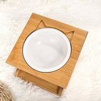 LEYUANEN 猫 食器 えさ皿 ペット食器 スタンド 食器台 陶器 セラミック フード ボウル 食台ごはん皿 ボウル 斜め