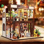 LEMESO ドールハウスキット 手作りキットセット ミニチュアコレクション「旅行喫茶店」DIY木製 英語説明書 オ