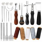 レザークラフト 手縫い 革工具セット レザークラフト 縫製キット 蝋引き紐 縫い針 千枚通し ステッチンググ
