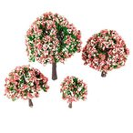 4個入りセット モデルツリー 樹木模型 木 桃の花 ピンク鉢植え用 鉄道模型 風景 モデル トレス 情景コレクシ