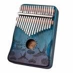 Anager カリンバ 17キー Kalimba 17 keys 親指ピアノ 高品質なマホガニー (ブルー)