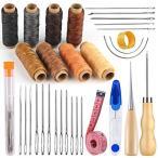 RMTIME 蝋引き糸 レザークラフト糸 縫い針 千枚通し レザークラフト 33 点 工具 セット 革 DIY 手作り ロウ引き糸