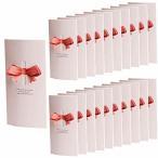 HWT リボン 付 メッセージカード 20枚セット ピンク 席札 披露宴 結婚式 用 グリーティングカード ウェルカム