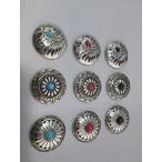【全国 コンチョ 9個 セット レザークラフト ターコイズ オニキス コーラル インディアン 飾り ボタン ネジ 式