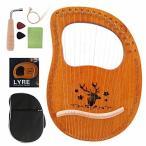 ライアーハープ16弦 木製ハープ 弦楽器 マホガニーソリッドウッド 心癒し 楽器 初心者 調律用ハンマー 収納バ
