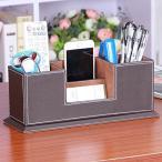 Ansimple ペン立て ペンスタンド 名刺入れ カードスタンド 収納ボックス 収納ケース 小物入れ 整理ボックス PUレ