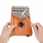 聆聞 17キーカリンバ 指ピアノ 木製 18cm*13cm*4cm (ハンマー/ビブラートチェーン/サムピック/音階ステッカー/クリ