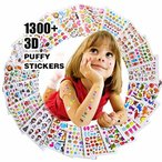 RENOOK 子供&幼児シールふわふわシールかわいい海外デザイン大量の20枚入り1300個以上3Dテッカー 手帳日記 知育