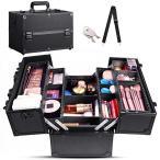 Dulcii プロ用 メイクボックス 収納ボックス コスメボックス 化粧品や化粧道具入れ スライドトレー 仕切り 鍵