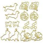 ミール皿 丸 猫 しずく 星 ハート ゴールド 30枚 セット ミニサイズ カン付き レジン アクセサリー パーツ