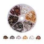 PH PandaHall 約60組 6色 12mm 真鍮製 イヤークリップトレイ ミール皿 ガラスカボション クリップオン イヤリング