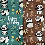 パッチワーク パンダ ミツバチ 柄 手作り布 タペストリー ファブリックパネル カーテン生地 給食袋生地 手芸