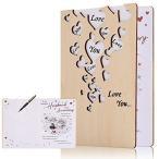 木製グリーティングカード 結婚記念日カード アニバーサリーカード メッセージカード 手作りグリーティン