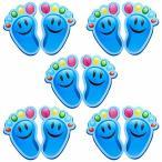 (POMAIKAI) 靴おきマーク おかたづけ 防水 ステッカー 5枚セット (ブルースマイル)