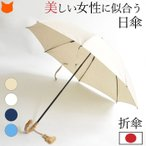 日傘 折りたたみ ブランド 晴雨兼用 おしゃれ 傘 軽量 日本製 ワカオ WAKAO 綿 竹 白 ホワイト ブルー 青 ネイビー 母の日 プレゼント 母 お母さん ギフト