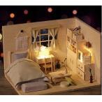 Hfalu 初心者 ミニチュア ドールハウスキット 手作りキットセツト DIY和風の部屋 モデル 家具 工芸品 LEDライト付き (J001)