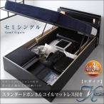 モダンライトコンセント付き・ガス圧式跳ね上げ収納ベッド Kezia ケザイア ボンネルコイルマットレス:レギュラー付き セミシングル 040112190
