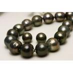 ショッピング真珠 真珠 2点セット タヒチ黒蝶パール 14-11mm ブラックグレーカラー