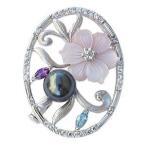ブローチパール黒真珠シルバーSVプレゼントジュエリー
