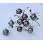 パールブローチ ブラックパール 黒真珠 アレキサンドライト ダイヤモンド ブローチ タヒチ黒蝶真珠 K18 ホワイトゴールド