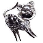 ブローチ ねこ ネコ ピンズ 猫 CAT ラベルピン ダイヤモンド K18WGホワイトゴールド ジュエリー 手作り