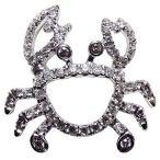 ブローチ カニ かに ピンズ 蟹 ラベルピン ダイヤモンド K18ホワイトゴールド ジュエリー 手作り