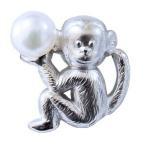パール ブローチ フォーマル 申モチーフ ブローチ さる メンズ 男性用 ピンブローチ サル ピンズ 猿 ラペルピン 干支ブローチ モンキー プレゼント ギフト 人気