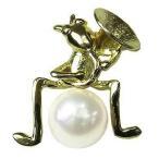 パール ブローチ フォーマル 真珠 メンズ あこや本真珠 K18 ゴールド きりぎりす キリギリス 楽器 ダイヤモンド 送料無料 ジュエリー プレゼント ギフト 人気