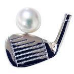 メンズ ブローチ ゴルフクラブ 真珠 ピンズ ラベルピン あこや本真珠 6mm パール シルバー SV ギフト 手作り
