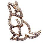 メンズブローチ カンガルー 男性用 かんがるー ピンズ ラベルピン ダイヤモンド K18 メンズジュエリー 手作り