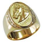 メンズリング 馬 ホース リング 指輪  印台リング ラッキー 幸運 ダイヤモンド メンズ 男性用 ゴールド 18金 K18 送料無料