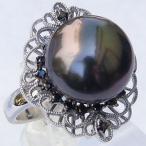 リングパール黒真珠K18ホワイトゴールドプレゼントジュエリー